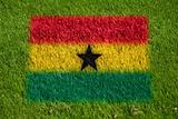 flag of ghana on grass
