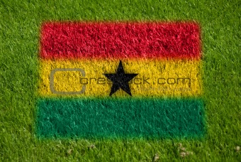 flag of ghana on grass