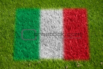 flag of italy on grass