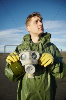 Young scientist breathe air without gas mask