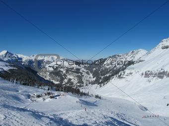 Ski slopes in grand mountain landscape