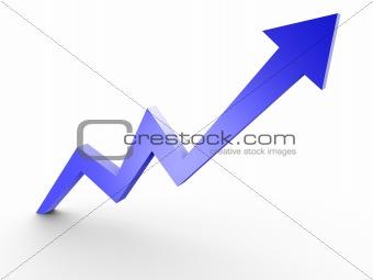 Business Graph, 3d rendered conceptual arrow chart.