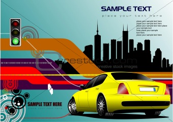 Abstract hi-tech background with yellow car image. Vector illust