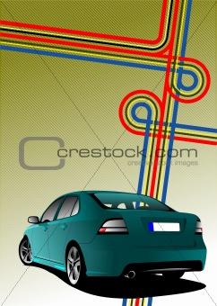 Business cover for brochure with junction and blue car image. Ve