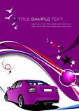 Purple business background with luxury car image. Vector illustration
