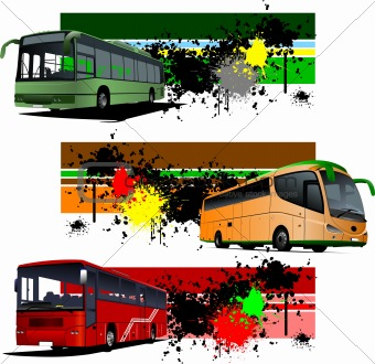 Three grunge Banners with city bus. Vector illustration