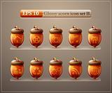 Glossy acorn web icon set 2