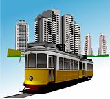 Dormitory and rarity tram. Vector illustration