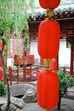 Close up of red lanterns in a chinese garden