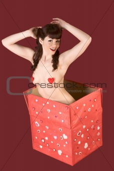 Touching naked woman present picture