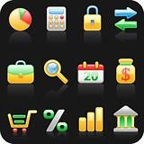 Finance_black backgrond icon set.