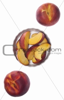 Sliced and Whole Fresh Peaches