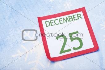 Christmas Calendar Page on Snowflake Background