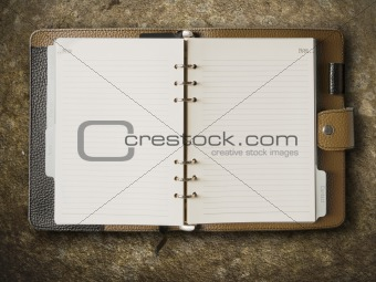 Black and brown leather cover of binder notebook