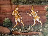 Thai art style Painted on a Temple Wall