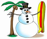 SnowMan with surfboard.