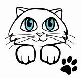 Small kitten with big eye. Vector