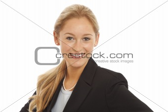 Close up portrait of young girl in business suit