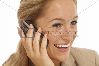 Close up portrait of young business girl using cell phone