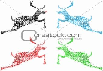 Four Christmas Reindeer Black Red Blue Green Snowflakes