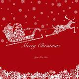 Santa on Sleigh with Reindeers and Snowflakes 2