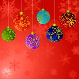 Hanging Christmas Ornaments with Snowflakes Background 2