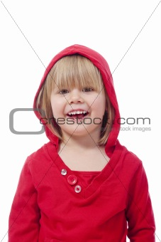 portrait of a girl with blond hair, smiling - isolated on white