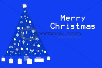 Blue Christmas Tree With White Text