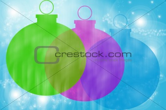Three Christmas Balls On Sparkling Background