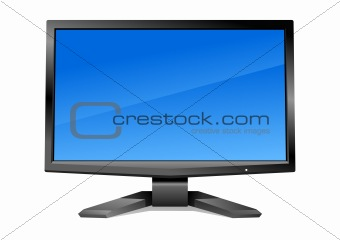 Modern monitor with blue screen