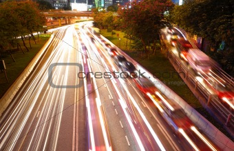 Night traffic in busy city
