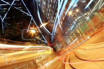 traffic in downtown, Hong kong