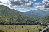 Panoramic view with St. Pietro Basilica. Spoleto. Umbria.