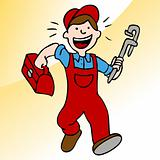 Running Plumber With Wrench and Toolbox