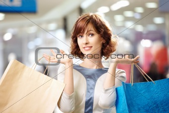Portrait of shopaholic