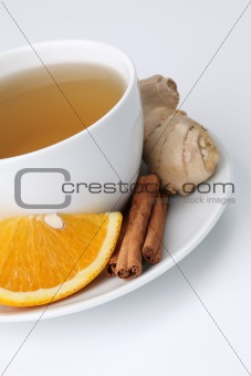 Orange tea with cinnamon and ginger