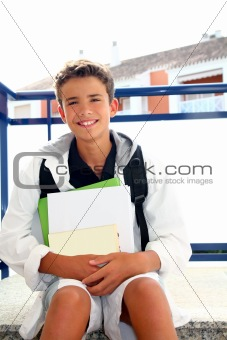boy student teenager backpack holding books