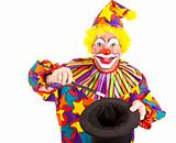 Clown Does Magic Trick - Isolated