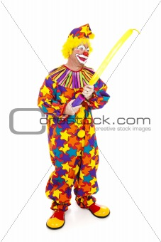 Clown Inflates Balloon Animal