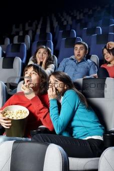Young men at cinema