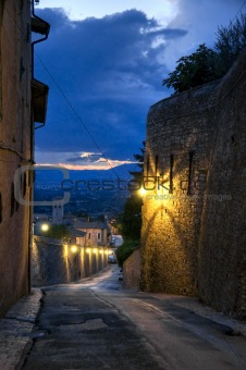 Alleyway at dusk. Assisi. Umbria.