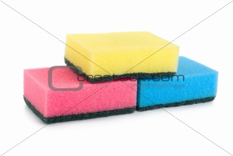 Three colored sponges