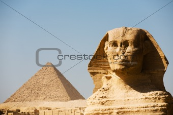 Great Sphinx Head Closeup Menkaure Pyramid