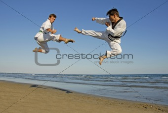taekwondo on the beach