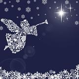 Christmas Angel with Trumpet and Snowflakes 2