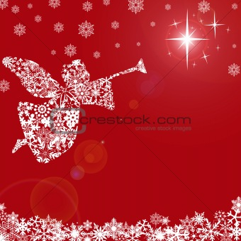 Christmas Angel with Trumpet and Snowflakes