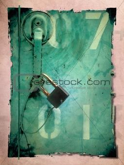Old Lock key on the green iron gates