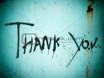 """Thank you"" blck spray paint"