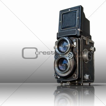 Old black twin lens camera