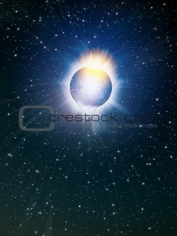 Bright shine star in space